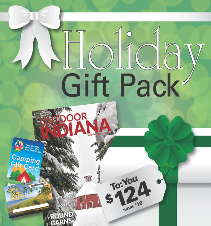 Your camp package includes: a 2021 Golden Hoosier Passport, a $100 camp gift card, and a 1 year subscription to the Outdoor Indiana Magazine.