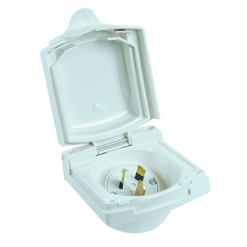Clipsal (New Style) White External 15 Amp Power Inlet
