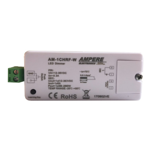A single color (single channel) controller allows you to connect any LED light that works on 12V - 36V DC power. Extremely smooth dimming without the need for additional dimming devices such as 0-10 dimming modules.