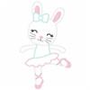 Ballerina Bunny Vintage and Chain Applique Machine Embroidery Design