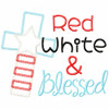 Red White and Blessed Vintage and Chain Applique Machine Embroidery Design