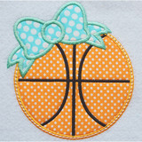 Bow Basketball Applique Machine Embroidery Design