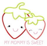 Strawberry Mom and baby Satin and Zigzag Stitch Applique Machine Embroidery Design