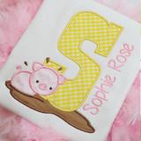 Piggy Applique Alpha Machine Embroidery Design