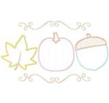 Pumpkin Leaf and Acorn Satin and Zigzag Stitch Applique Machine Embroidery Design