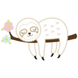 Girl Sleeping Sloth Vintage and Chain Stitch