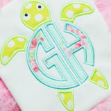 Sea Turtle Monogram Alpha Machine Embroidery Design