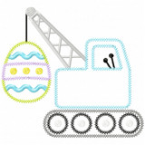 Easter Egg Crane Vintage and Chain Applique Machine Embroidery Design