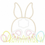 Bunny Tail and Easter Eggs Vintage and Chain Applique Machine Embroidery Design