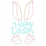 Happy Easter Bunny Vintage and Chain Applique Machine Embroidery Design