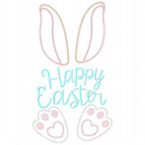 Happy Easter Bunny Vintage and Chain Applique