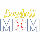 Baseball Mom Satin and Zigzag Applique
