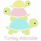 Turtley Adorable Simple Stitch and Sketch Fill Applique Machine Embroidery Design