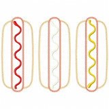Hot Dogs Vintage and Chain Applique Machine Embroidery Design