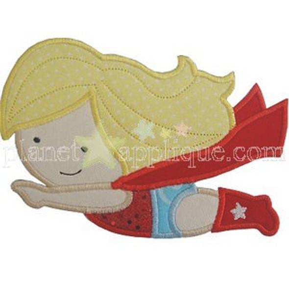 Girl Super Hero Applique Machine Embroidery Design