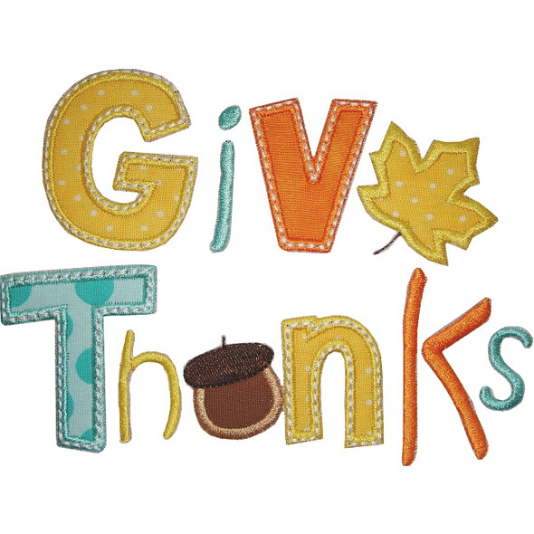 Give Thanks Applique Machine Embroidery Design