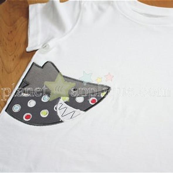 Half Shark Applique Machine Embroidery Design