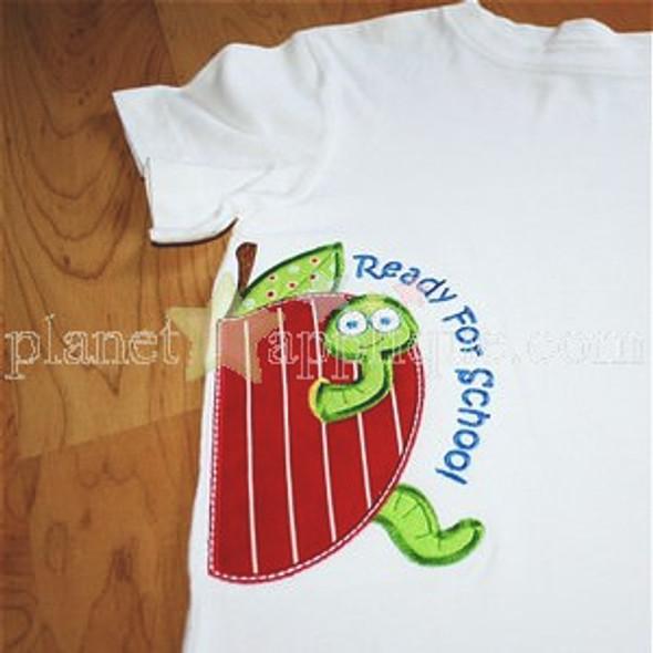 Half Apple Worm Applique Machine Embroidery Design