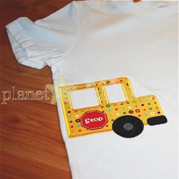 Half School Bus Applique Machine Embroidery Design