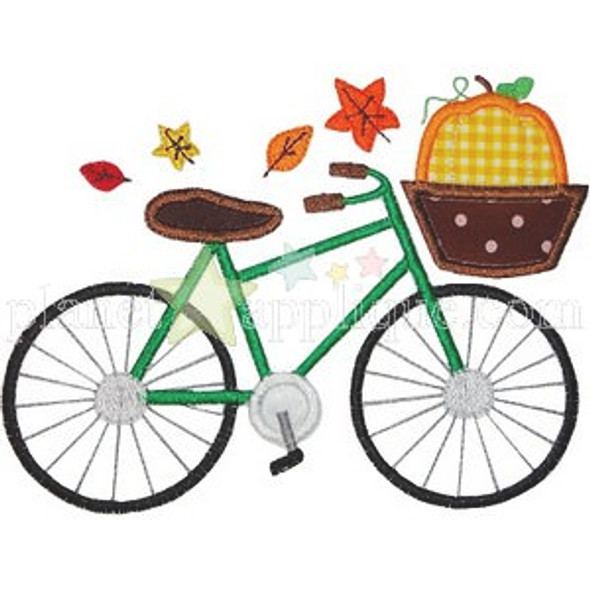 Fall Bicycle Applique Machine Embroidery Design