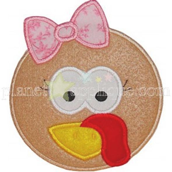 Girl Turkey Applique Machine Embroidery Design