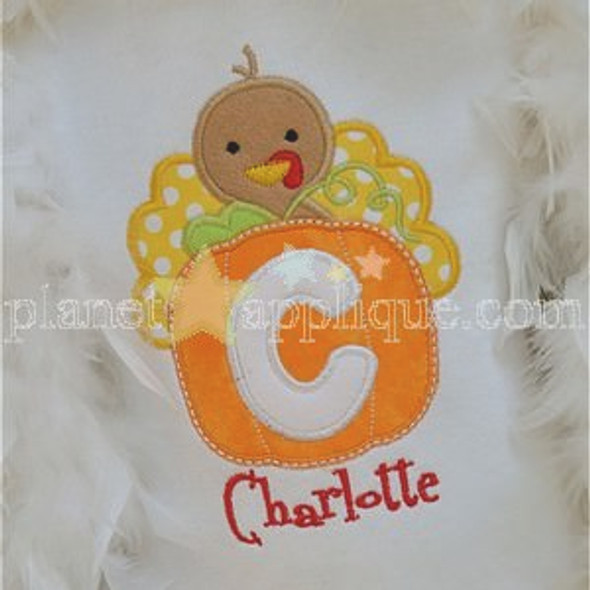 Pumpkin Turkey Alpha Machine Embroidery Design