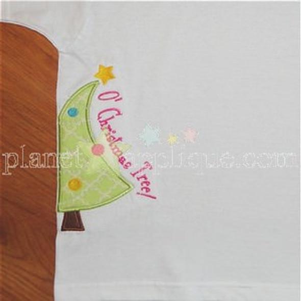 Half Christmas Tree Machine Embroidery Design
