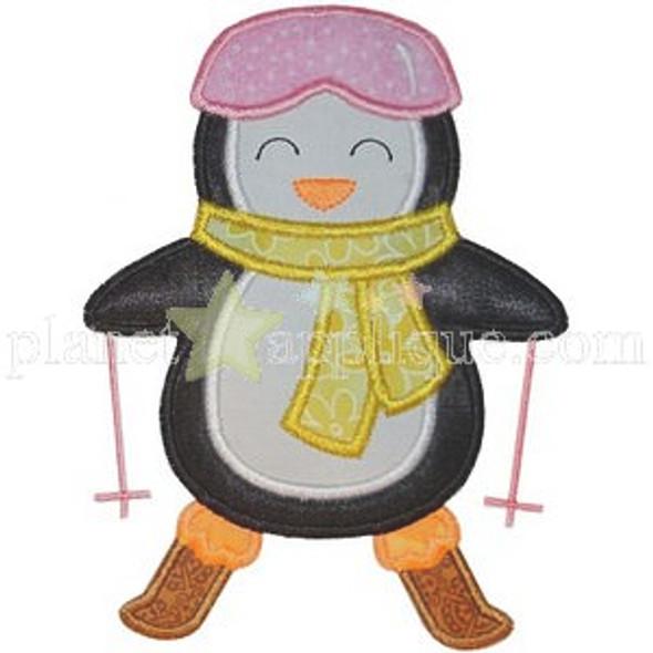 Ski Penguin Applique Machine Embroidery Design