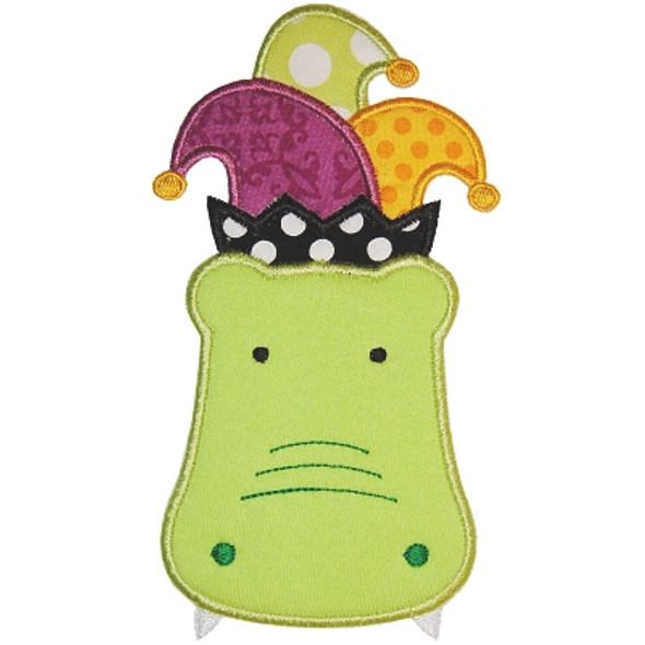 Mardi Gras Gator Machine Embroidery Design