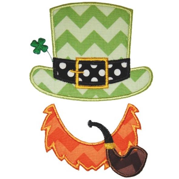 Leprechaun Hat and Beard Machine Embroidery Design