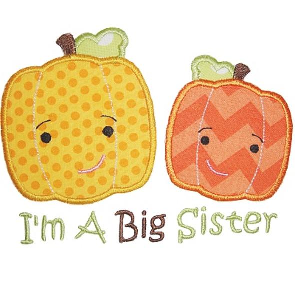 Sibling Pumpkin Applique Machine Embroidery Design