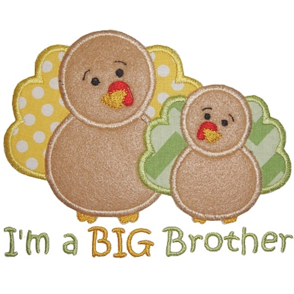 Sibling Turkey Applique Machine Embroidery Design