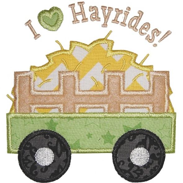 I Heart Hayrides Machine Embroidery Design