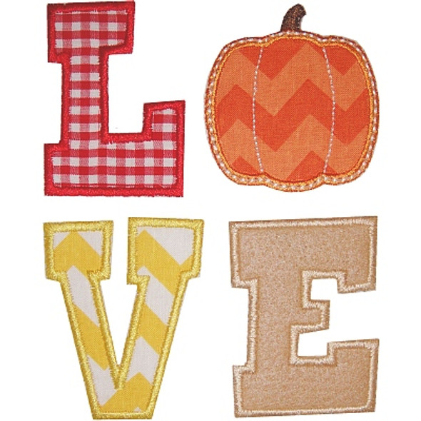 Pumpkin Love Applique Machine Embroidery Design