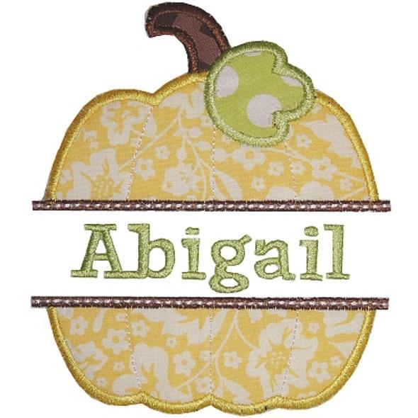 Pumpkin Nameplate Machine Embroidery Design