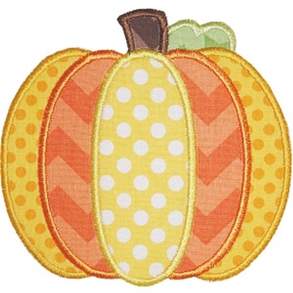 Pieced Pumpkin Applique Machine Embroidery Design