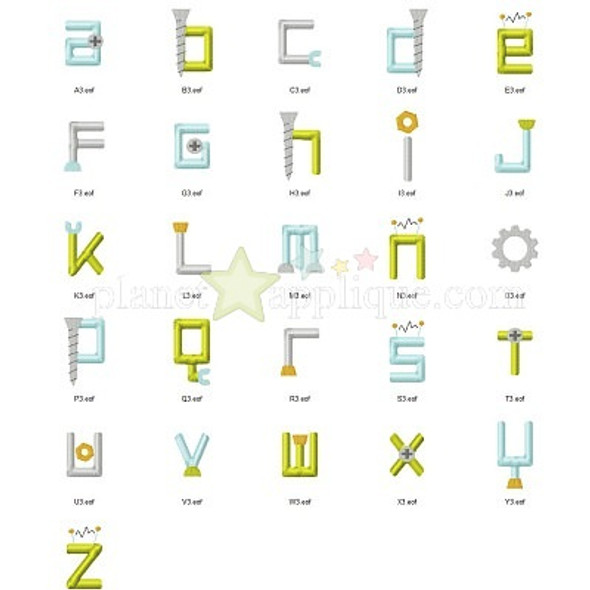 Robot Embroidery Font