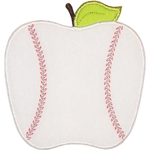 Baseball Apple Machine Embroidery Design