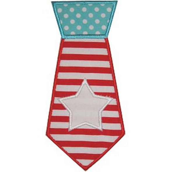 Flag Tie Applique Machine Embroidery Design