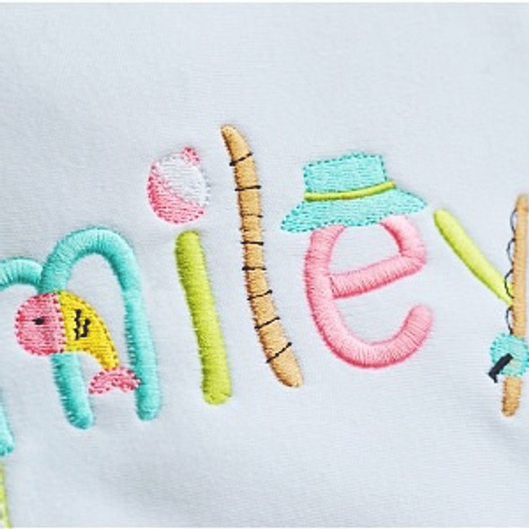 Fishing Embroidery Font Machine Embroidery Design