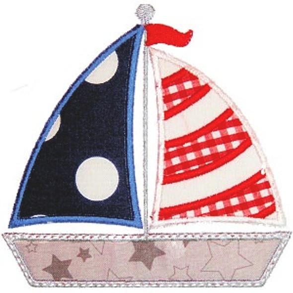 Sailboat 2 Applique Machine Embroidery Design