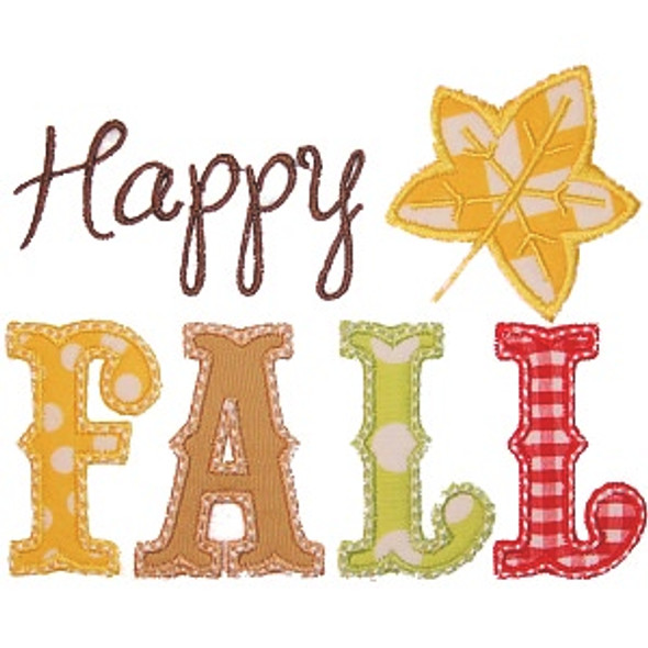Happy Fall Applique Machine Embroidery Design