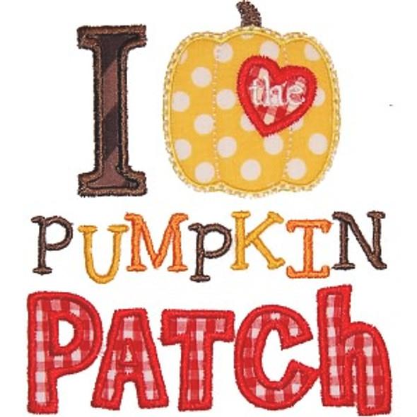 I Love The Pumpkin Patch Machine Embroidery Design