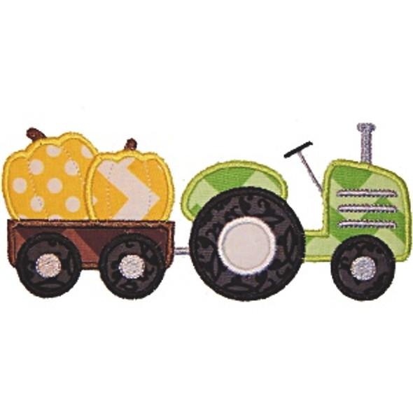 Pumpkin Tractor Machine Embroidery Design