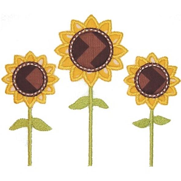Three Sunflowers Machine Embroidery Design