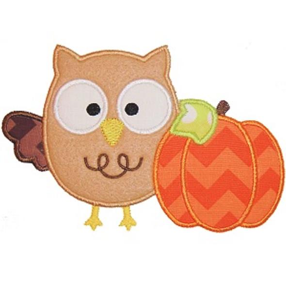 Owl and Pumpkin Machine Embroidery Design