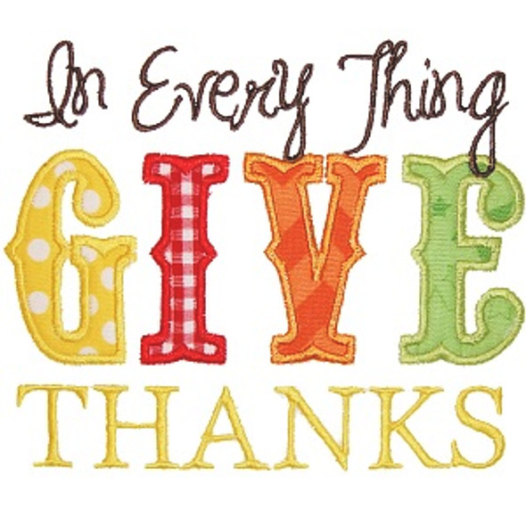 Give Thanks 3 Machine Embroidery Design