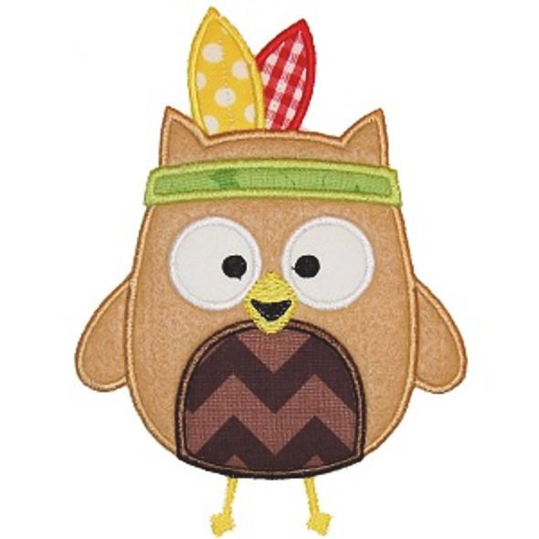 Indian Owl Applique Machine Embroidery Design