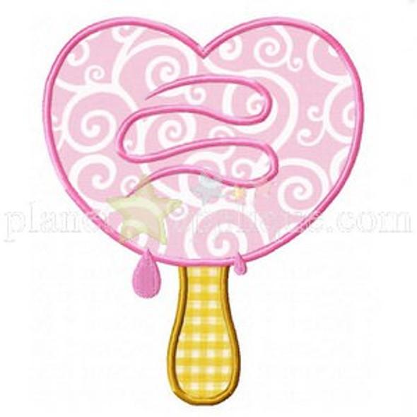 Ice Cream Heart Applique Machine Embroidery Design