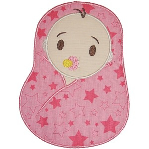 Swaddle Baby Applique Machine Embroidery Design